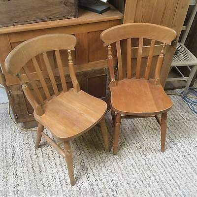 Pair Of Reclaimed Slat Back Beech Chairs