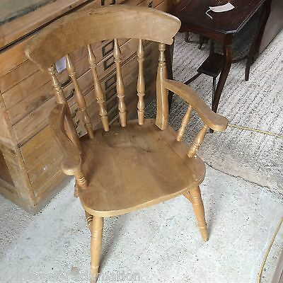 Beech Spindle Back Carver Armchair Reclaimed