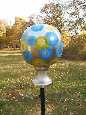 Hand-painted Nickel-plated ball finial yard ornament by Sweet Whimsy Designs