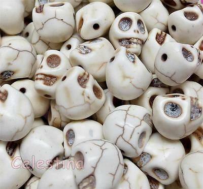 20 SKULLS Beads 10mm x 12mm Halloween Gothic Howlite Day of the Dead Cream Stone