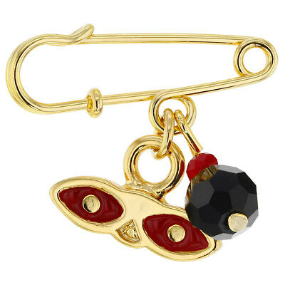 14k Gold Plated Birth Gift St Lucy Simulated Azabache Protection Baby Pin Brooch