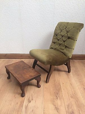 Vintage Green Upholstered Child's Bedroom Chair