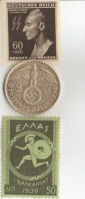 ****WWII -  Antique  *greek   Stamp  +  wwii *german  Silver  coin