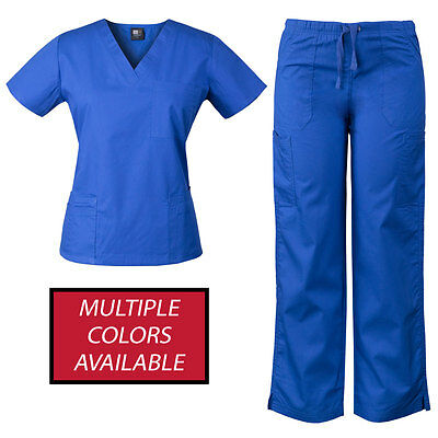 MedGear Womens Scrubs Set Medical Uniform, 4 Pocket Top, Multi-pocket Pants 7891