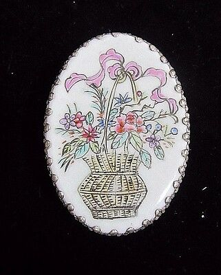 Vintage Chinese Porcelain & Silver Plated Shard Box Trinket Basket of Flowers