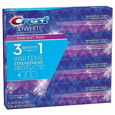 Crest 3D White Radiant Mint Whitening Toothpaste 4 Pack / 6.4 oz.