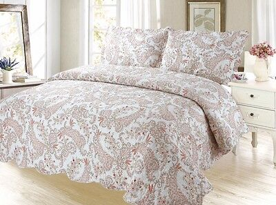 Paisley Bedding 3Pc Bedspread Coverlet Quilt Set,Peach, King Queen Twin