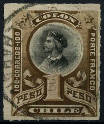 Chile 1878-99 SG#66, 1p Black & Brown, Christopher Columbus Used #D37493