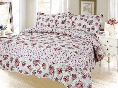 Floral  Bedding 3Pc Bedspread Coverlet Quilt Set,Red, King Queen Twin