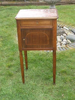 French Walnut Inlay Marble Topped And Marble Lined Bedside Cabinet Cupboard
