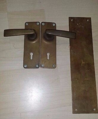 2 ANTIQUE VINTAGE BRASS DOOR HANDLE & Back Plate SOLID BRASS SHOP PUB RESTAURANT