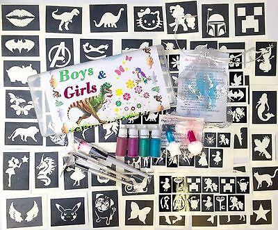 GLITTER TATTOO KIT boys girls 98 stencils Glue glitters fundraising  ideal gift