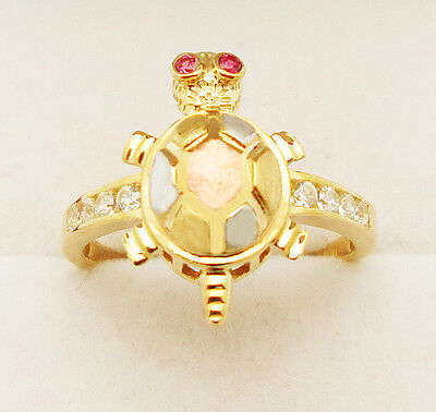 10k Yellow Gold Tri Color Turtle Ring