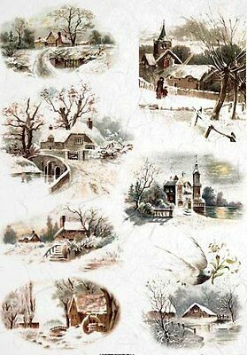 Rice Paper for Decoupage Decopatch Scrapbooking Sheet Craft Vintage Winter Lands