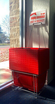 "*** Sale *** Shopping Baskets ""jumbo Size"" Set Of 12 With Stand/sign Red"