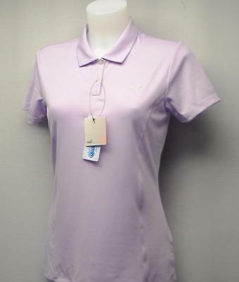 New Womens PUMA Pounce short sleeve polyester golf polo shirt Small Orchid