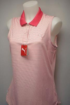 New Womens PUMA 3D stripe sleeveless  polyester golf polo shirt Medium Red White