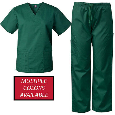 MedGear Men's Scrubs Set Multi-Pocket Top & Pants, Medical Uniform 7890