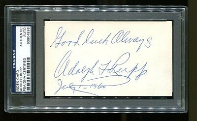 Adolph Rupp Signed Index Card 3x5 Autographed Kentucky PSA/DNA 83904898