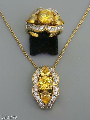 Nice Sterling Silver Vermeil & Yellow Tourmaline/White Topaz Ring & Pendant Set