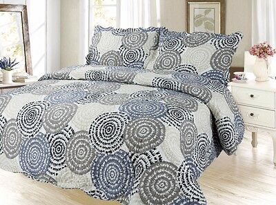 Modern Bedding 3Pc Bedspread Coverlet Quilt Set, Gray, King Queen Twin Size