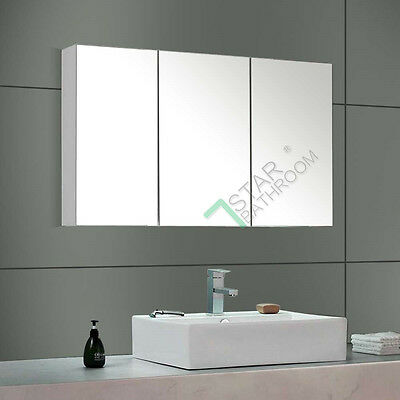 1200x720x150mm Mirror Cabinet Bathroom Vanity Shaving Medicine Pencil Edge Glass