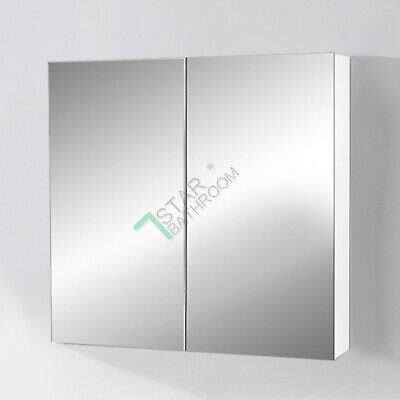750x720x150mm Mirror Cabinet Bathroom Vanity Shaving Medicine Pencil Edge White