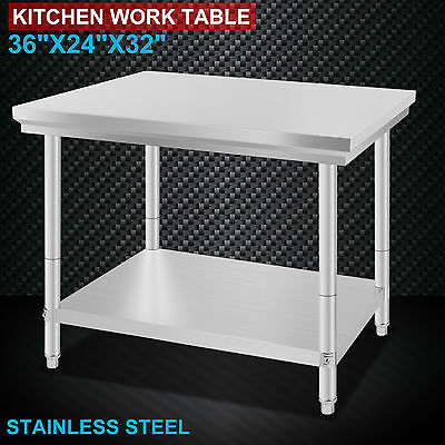 304/201 Commercial Stainless Steel Kitchen Work Bench Top Food Grade Prep Table