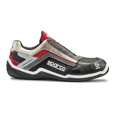 Sparco Rally L Leisurewear/Mechanics Leather Shoes Silver/Red - UK 7/Eur 41