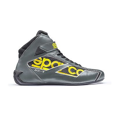 Sparco Shadow KB-7 Leather Karting/Go Kart Boots Grey/Yellow - UK 6.5/Eur 40