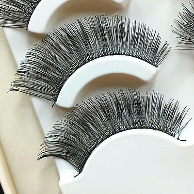 5 Pairs/Pack Handmade Soft Natural Cross Thick Long False Eyelashes Eye Lashes