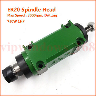 750W 1HP Spindle Head ER20 Chuck Belt Power Head Unit 3000rpm 5Bearing Drilling