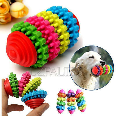 Rubber Pet Dog Puppy Dental Teething Healthy Teeth Gums Chew Play Toy Colorful