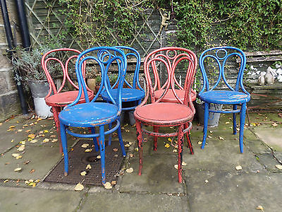 Set of 6 large vintage bentwood chairs, painted pink & blue, shabby chic,garden?
