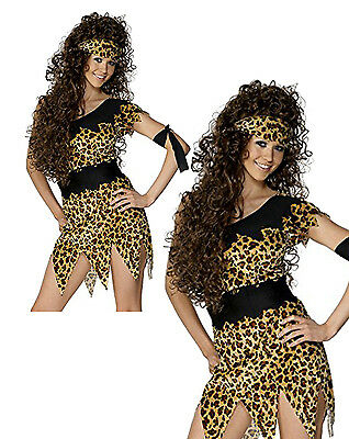 Cavewoman Womens Fancy Dress Costume Outfit Leopard Print Prehistoric Girl Cave