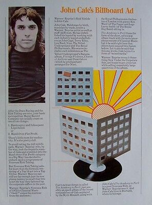 JOHN CALE 1972 Poster Ad THE ACADEMY IN PERIL
