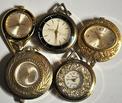 Lot of 5 Mixed Pendant/Pocket Watches For Parts Repairs #WL89
