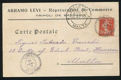 Libia Malta French Consular Post Office 1910