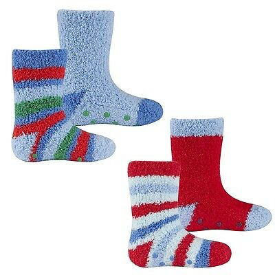 Cosy Baby Boys Toddlers 2 Pack Anti Slip Blue Red Fluffy Grippers Socks New