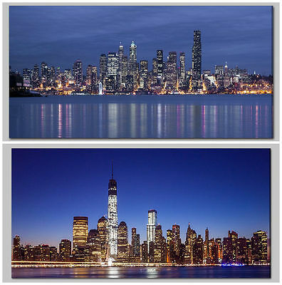 Large Light Up Night City Scene Skyline Flickering LED Canvas Wall Art Picture