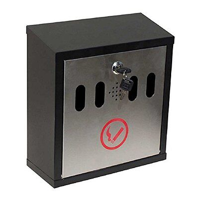 Qualarc  Hayward Wall Mount Cigarette Ash Receptacle, Black W/Stainless NEW
