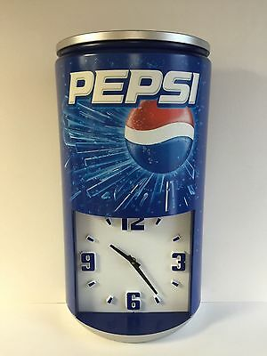 "Pepsi Cola Vintage Clock ~ Good Condition & Free Shipping ~ 23.5"" x 13"""
