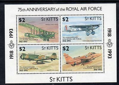 St Kitts MNH 1993 The 75th Anniversary of Royal Air Force M/S