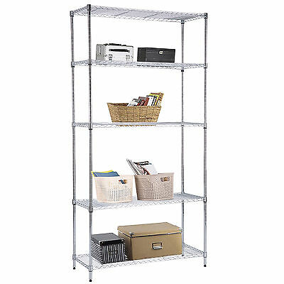 "73""x36""x14"" Heavy Duty 5 Tier Wire Shelving Steel Rack Chrome Shelf Adjustable"