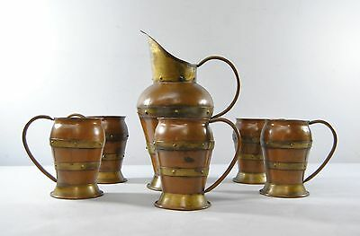 Hammered Copper and Brass Arts and Crafts Pitcher and 5 Mugs by Hector Aguilar