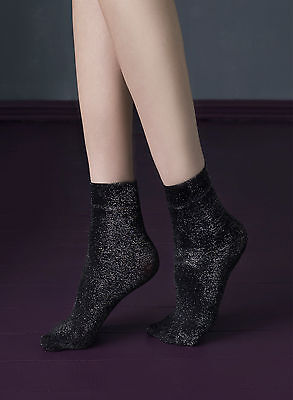 Fiore Midnight Ankle High Socks with Silver sparkly thread Party Anklets