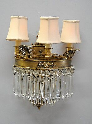 Bronze French Neo Classico Three Light Sconce with Cut Prisms