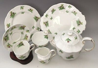 Royal Albert Highland Thistle Set Tea Pot, Cups & Saucers, Dessert Cake Plates,