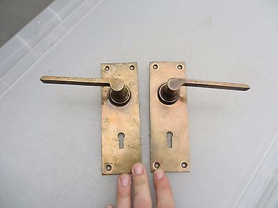 Vintage Bronze Lever Door Handles Architectural Salvage Old Mid Century Keyhole