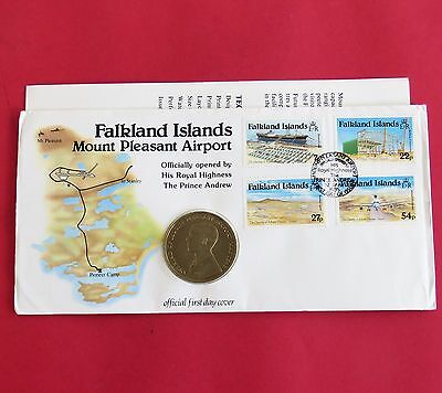 1985 FALKLAND ISLANDS MOUNT PLEASANT AIRPORT UNCIRCULATED CROWN - coin cover
